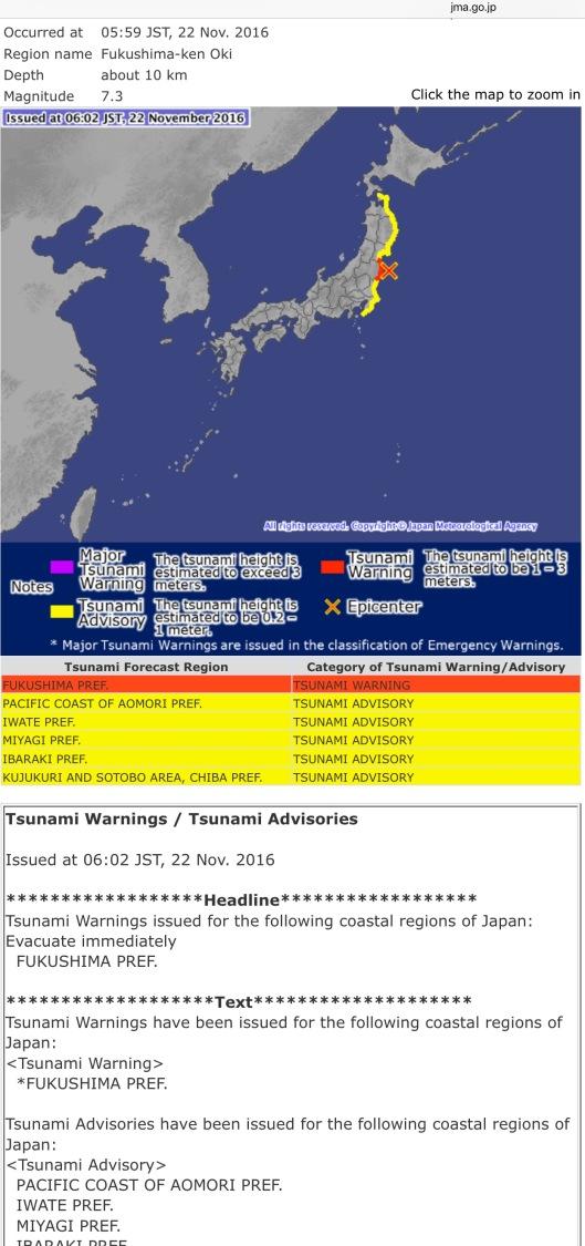 7.3 M offshore Fukushima Quake-Tsunami warning Japan Meteorological Agency