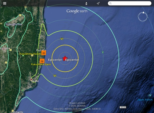 Fukushima offshore 6.9 or 7.3  earthquake USGS