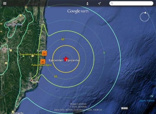 Fukushima offshore 6.9 or 7.3  earthquake USGS