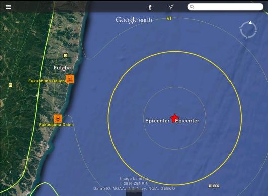 Fukushima offshore 6.9 or 7.3  earthquake USGS Zoon