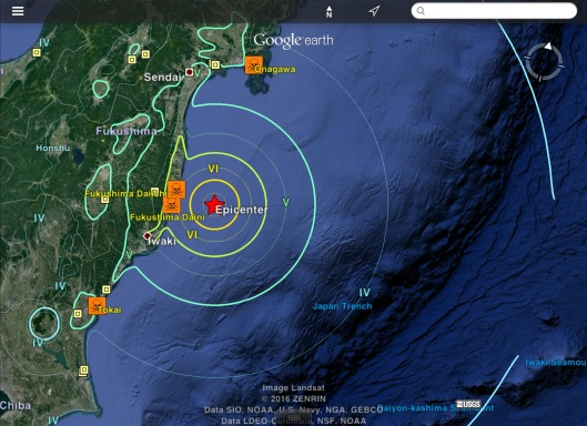 Fukushima offshore 6.9 or 7.3  earthquake USGS Zoom out