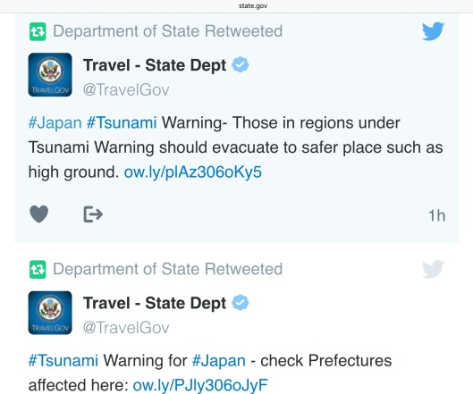 22 Nov 2016 US State Dept Tsunami Tweet