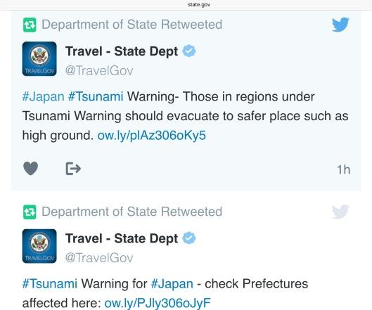 22 Nov 2016 US State Dept Tsunami Tweet