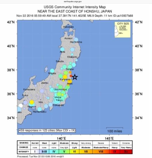 USGS did you feel it 22 November 2016 Japan Earthquake 6.9 or 7.4