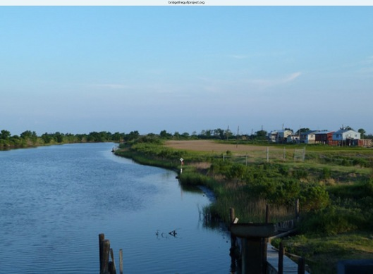 An oil company canal at Isle de Jean Charles, a community on the frontlines of the coastal land loss problem via Bridge the Gulf org