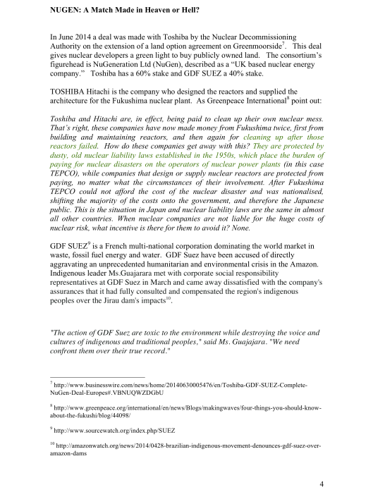 "Moorside, ""Biggest New Nuclear Development in Europe"", Myth vs. Reality RAFL, p. 4"