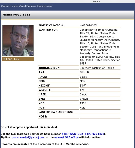 Guy Philippe Haiti US DEA Most Wanted