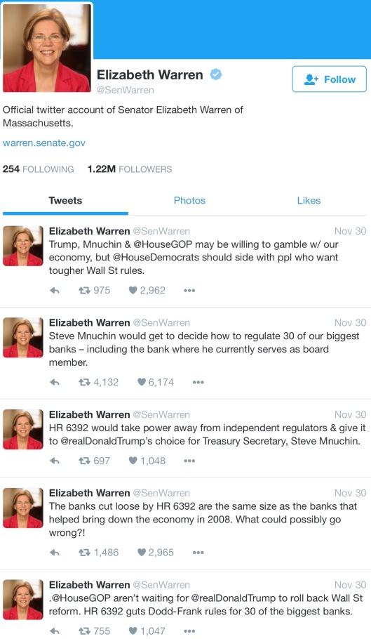 Elizabeth Warren 30 Nov 2016 Trump Treasury pick Wallstreet bailout foreclosures etc