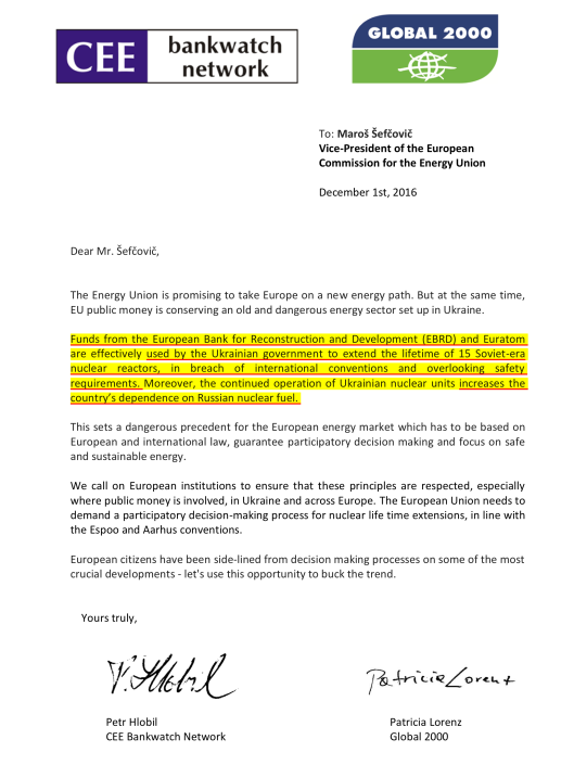 Letter To: Maroš Šefčovič VP of the European Commission for the Energy Union  December 1st, 2016 from Bankwatch