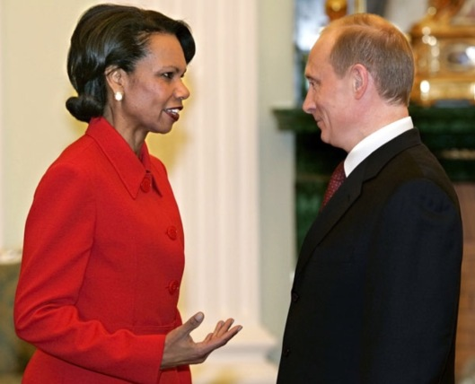 Condi Rice and Putin US Gov photo