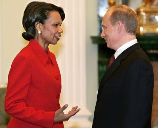 Condi Rice and Putin US Gov photo