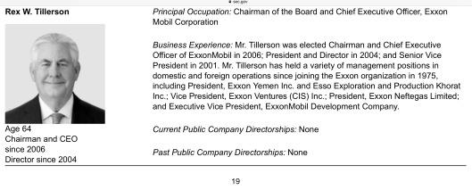 Tillerman CEO Exxon April 2016