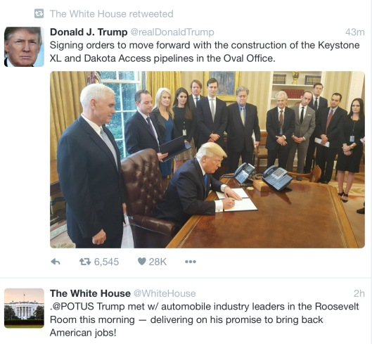 Donald Trump tweet retweeted by Whitehouse gov