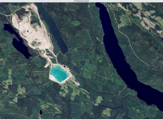 Mt. Polley before tailings dam failure disaster NASA