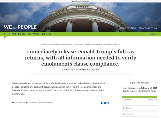 President Trump Tax Return petition morning of 29 Jan.