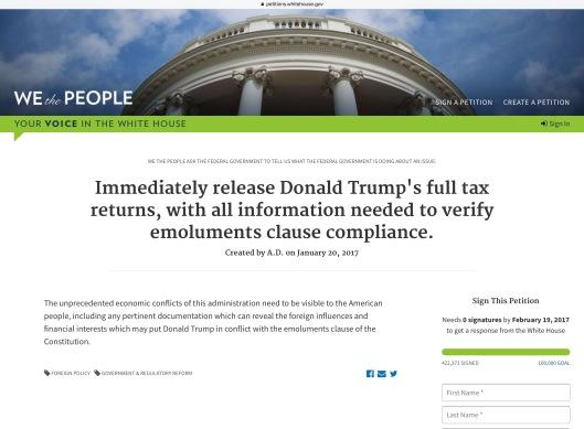 President Trump Tax Return petition morning of 29 Jan.