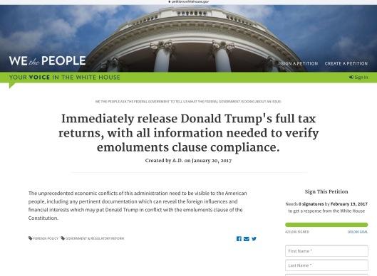Trump tax petition 2 ca 1.28 pm ET Sunday 29 Jan 2017