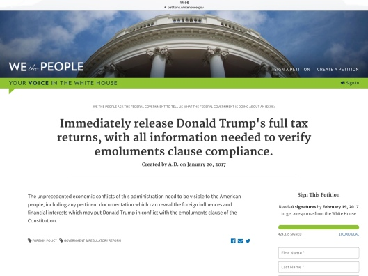 Trump tax petition 01/29/17 ca 2.05 pm ET 424,335