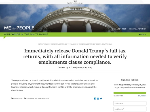 Trump tax petition 01/29/17  ca 4.07 pm ET 425,628