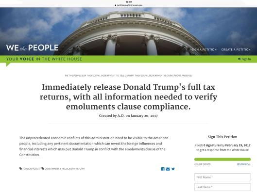 Trump tax petition 01/29/17  ca 4.07 pm ET 425,628