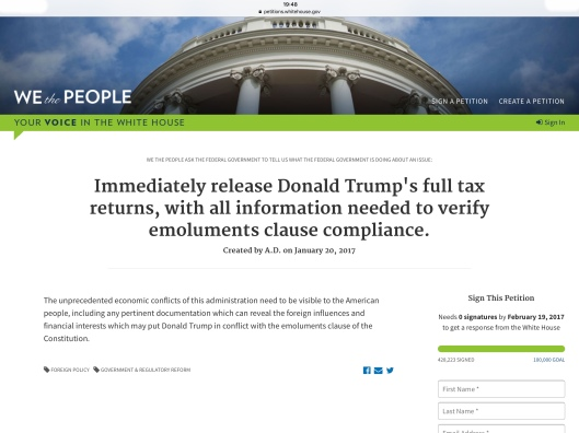 Trump tax petition 01/29/17 ca 7.49 pm ET 428,223