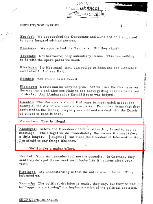 Kissinger FOIA - Illegal immediate Unconstitutional Longer  Undermining Sanctions Turkey 1975