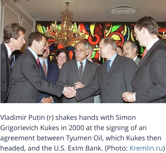 NEW YORK. Signing an agreement between the Tyumen Oil Company (TNK) and Eximbank USA. Vladimir Putin with TNK President Simon Kukes. 8 September 2000. www.kremlin. ru CC-BY-3.0 via open secrets-wikimedia