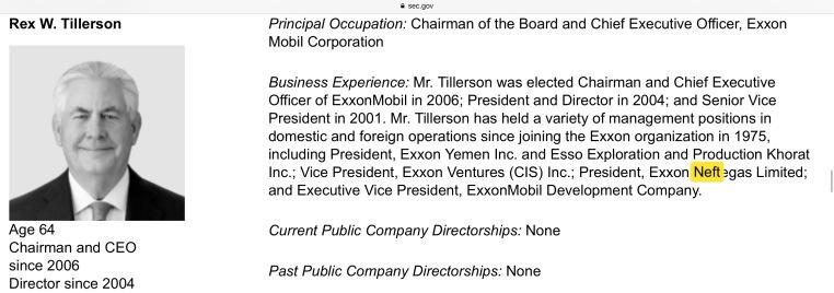 Tillerson Exxon Mobile CEO Pres Exxon Neftegaz SEC gov