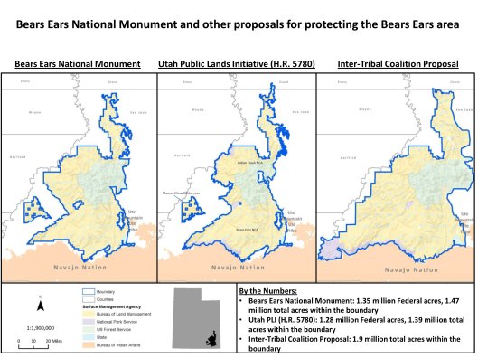 Bear Ears Proposals compared with Final