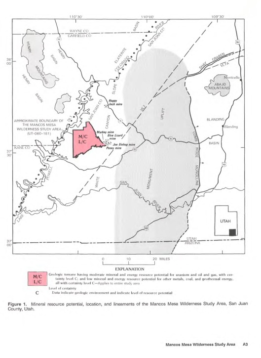 "Figure 1. Mineral resource potential, location, and lineaments of the Mancos Mesa Wilderness Study Area, San Juan County, Utah.  ""Mineral Resources of the Mancos Mesa Wilderness Study Area"", San Juan County, Utah, US Geological Survey Bulletin, 1755."