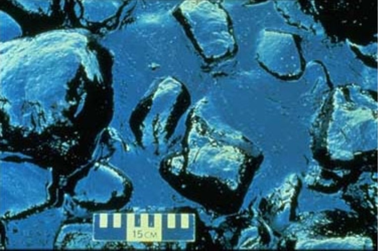 1989 Exxon Valdez Spill  Beginning 3 days after the vessel grounded, a storm pushed large quantities of fresh oil onto the rocky shores of many of the beaches in the Knight Island chain. In this photograph, pooled oil is shown stranded in the rocks. [[NOAA]] photo and text.