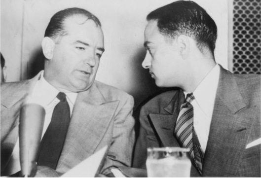 Sen. Joseph McCarthy chats with his attorney Roy Cohn during Senate Subcommittee hearings on the McCarthy-Army dispute Date 1954. Source Library of Congress Prints and Photographs Division. New York World-Telegram and the Sun Newspaper Photograph Collection. http://hdl.loc.gov/loc.pnp/cph.3c14995 United Press International telephoto