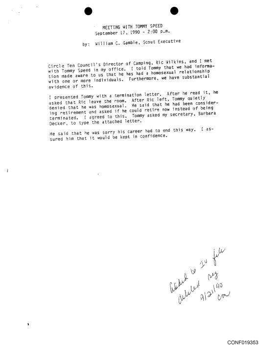 William Gamble Letter re Boy Scout Tommy Speed homosexual pedophile