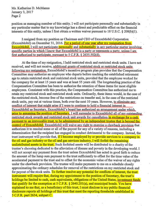 Tillerson Ethics Undertakings 3 January 2016, p. 2