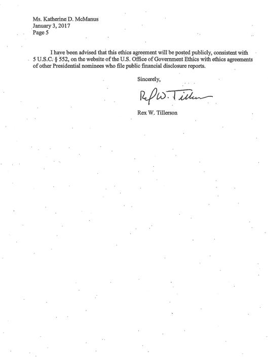 Tillerson Ethics Undertakings 3 January 2016, p. 5