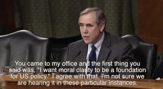 Merkley Tillerson Moral Clarity