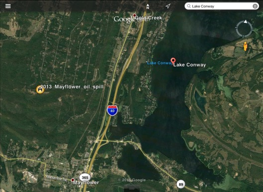 Mayflower Pipeline spill location via Wikipedia and Lake Conway