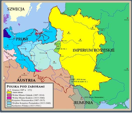 Ziemie Zabrane (Taken Lands, Stolen Lands) Imperial Russia theft of Poland late 1700s public domain via wikimedia