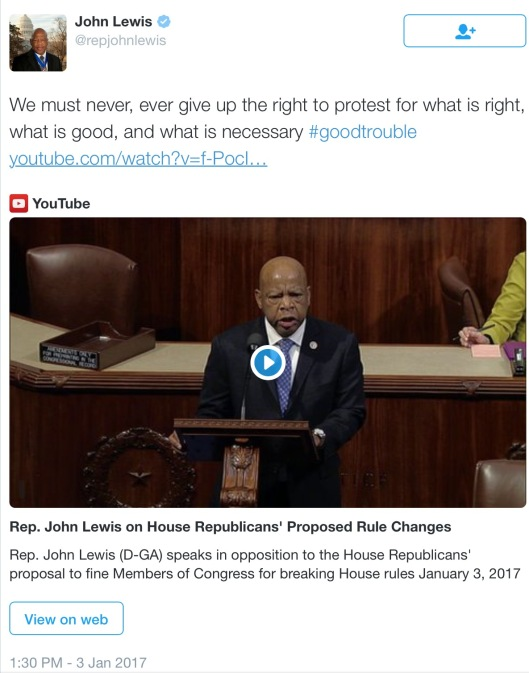 John Lewis on Protest, Speaking in Congress without a Fine, Jan. 3, 2017