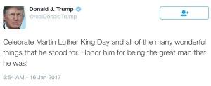 Trump ML King Day Tweet praising him