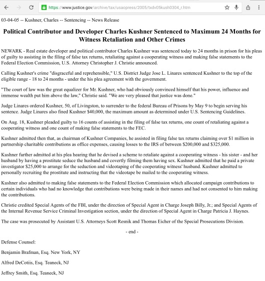 Political Contributor and Developer Charles Kushner Sentenced to Maximum 24 Months for Witness Retaliation and Other Crimes DOJ