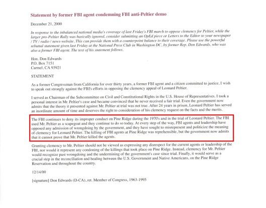 December 14, 2000 Statement by former U.S. Congressman Don Edwards