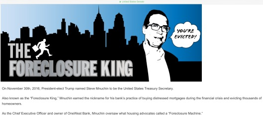 US Senate Dems gov Mnuchin Foreclosure Machine cartoon with text