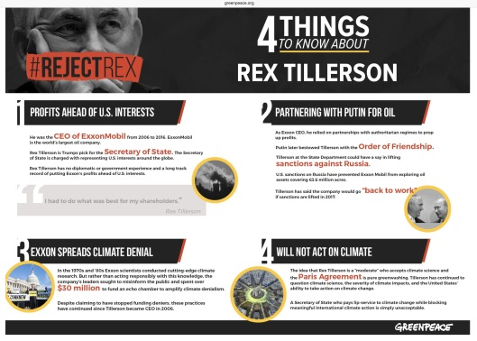 4 Things to Know About Rex Tillerson Greenpeace Infographic