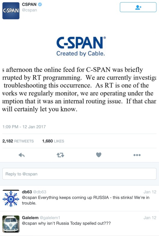 C-Span unopened tweet re RT interruption with comments