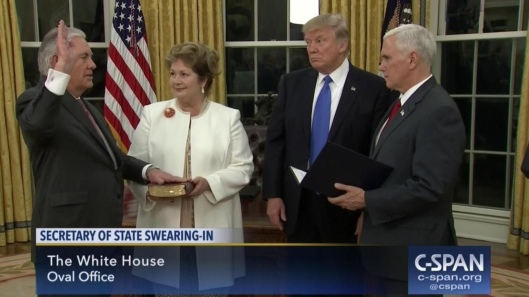 Tillerson Swearing in C-span screen capture