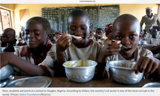 students eat lunch at a school in Osagbo, Nigeria. According to Oxfam, the country's oil sector is one of the most corrupt in the world. Photo: Gates Foundation/flickr/cc Via Common Dreams