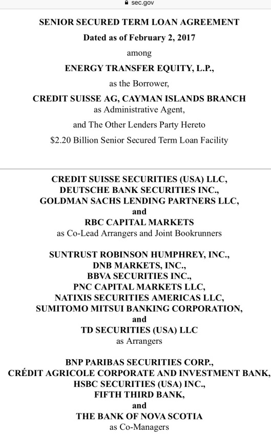 2 Feb. 2017 Credit Suisse Administrative Agent for Energy Transfer Equity, Deutsche Bank, Goldman Sachs