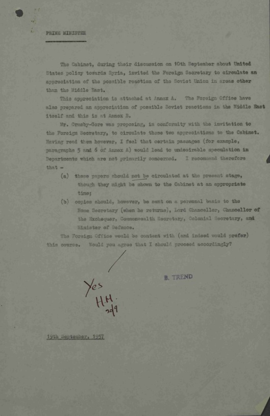 19 Sept. 1957 Possible Soviet reactions to United States policy on Syria UK Gov CAB 301/148 HM signoff