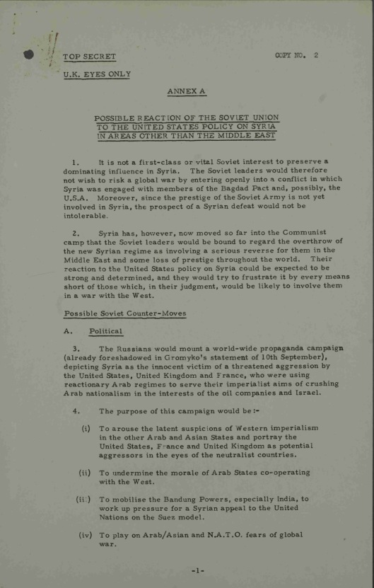 19 Sept. 1957 Possible Soviet reactions to United States policy on Syria UK Gov CAB 301/148 Annexe A p. 1